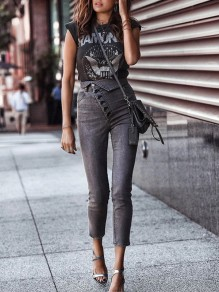 Grey Patchwork Irregular Buttons High Waisted Fashion Jeans Pant