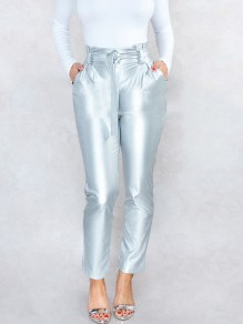 Silver Belt Pleated Pockets PU Leather Latex Bubble Vinly High Waisted Party Long Pant