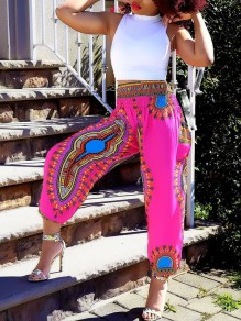 Rose Carmine Tribal Print High Waisted Beachwear Bohemian High Waisted Long Jumpsuit