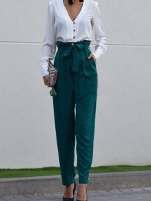 Green Patchwork Belt Pockets High Waisted Fashion Wide Pant