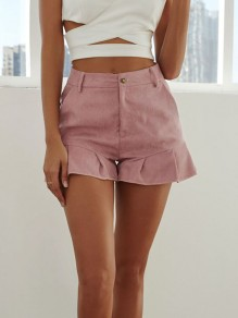 Pink Ruffle Buttons High Waisted Fashion Corduroy Shorts