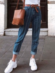 Blue White Striped Print Pockets High Waisted Long Jeans
