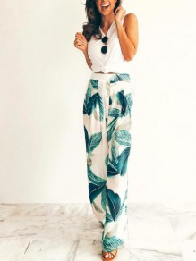 Green Palm Leaves Pattern Pleated Pockets High Waisted Bohemian Wide Leg Long Pants