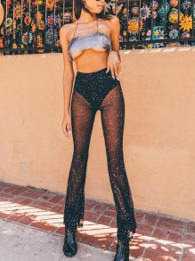 Black Patchwork Grenadine Sequin High Waisted Clubwear Rave Festival Long Pants