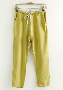 Yellow Plain Drawstring Waist Nine's Pants