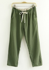 Dark Green Plain Drawstring Waist Nine's Pants