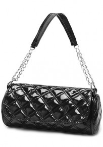 Black Chain Cotton Lining PU Leather Tote