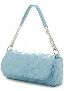 Blue Chain Cotton Lining PU Leather Tote