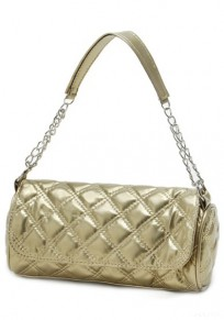 Golden Chain Cotton Lining PU Leather Tote