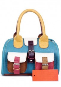 Multi Patchwork Pockets PU Leather Tote