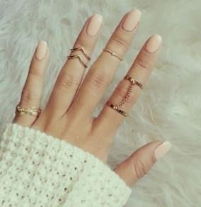 Double ring midi anneaux bijoux bagues strass 6-en-1 chaîne laisse plaqué fashion chic belle femme d'or
