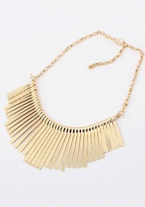 Golden Alloy Tassel Punk Choker Necklace