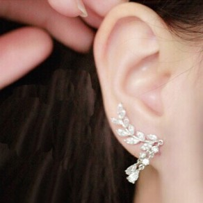 Silver Fashion Alloy Leaves Tassel Stud Earring