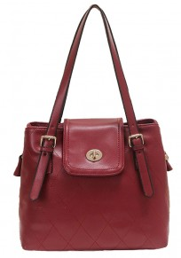 Red Geometric Cotton Lining PU Leather Shoulder Bag