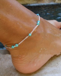 Silver Alloy Beads Fashion Anklet