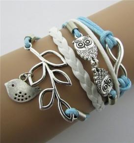 Bracelet hibou forme d'oiseau millésime tissé bleu