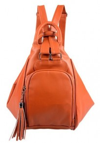 Yellow Brown Tassel Cotton Lining PU Leather Backpack