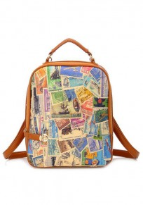 Brown Stamp Print PU Leather Backpack