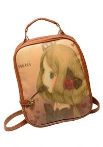 Brown Fork Doll Version Print PU Leather Backpack