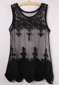 Black Plain Sleeveless Lace Vest