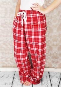 Red Plaid Drawstring Elastic Waist High Waisted Casual Wide Leg Long Pants