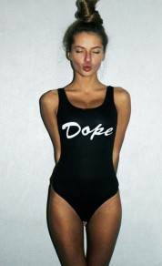Black Letter Dope Print Condole Belt One-Piece U-neck Beach Skinny Dacron Swimwear