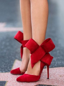 Red Big Bow Point Toe Stiletto Suede High Heels