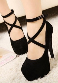 Black Cross Round Toe Stiletto Sexy High Pumps