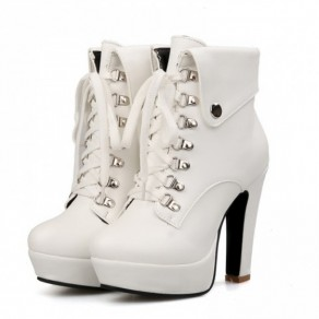 White Round Toe Wedges Ankle Boots