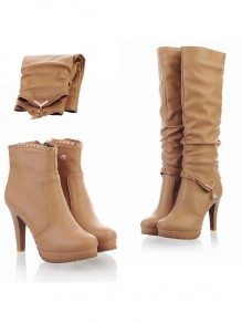 Beige Round Toe Stiletto Knee High Boots