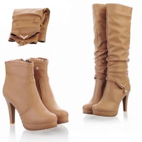 Beige Round Toe Stiletto Knee High Boots