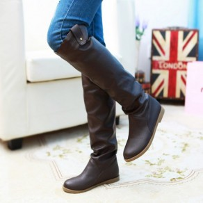 White Round Toe Knee High Casual Boots