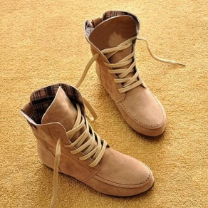 Beige Round Toe Flat Fashion Ankle Boots
