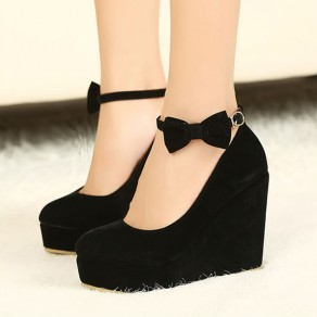 Black Round Toe Bow Ankle Fashion Wedge Heels