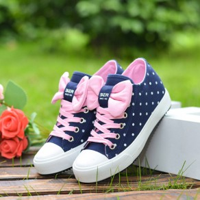 Dark Blue Round Toe Flat Bow Dot Pattern Casual Shoes