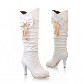 White Round Toe Stiletto Bow Casual Knee-High Boots
