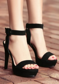 Black Piscine Mouth Stiletto Buckled Casual Sandals
