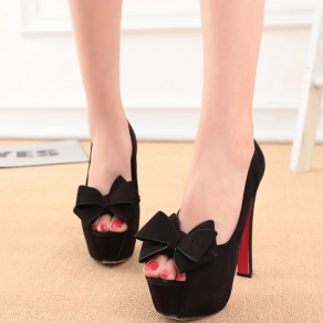 Black Piscine Mouth Chunky Bow Fashion High-Heeled Shoes