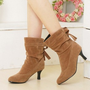 Beige Round Toe Stiletto Bow Casual Ankle Boots