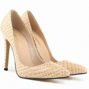 Apricot Point Toe Stiletto Crocodile Print Fashion High-Heeled Shoes