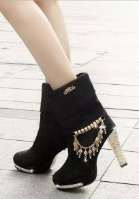 Black Round Toe Chunky Chain Casual Ankle Boots