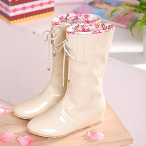 Beige Round Toe Flat Within The Higher Hidden Wedge Fashion Sweet Cute Waterproof Patent Leather Boots