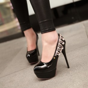 Black Round Toe Stiletto Rhinestone Fashion High-Heeled Shoes