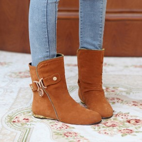 Yellow Round Toe Flat Zipper Buckled Casual Ankle Boots