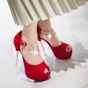 Red Piscine Mouth Stiletto Rhinestone Buckled Fashion Sandals