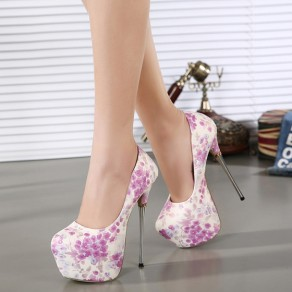 White Round Toe Stiletto Floral Print Fashion High-Heeled Shoes
