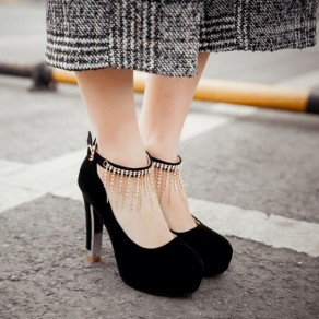 Black Round Toe Chunky Rhinestone Chain Buckled Casual High-Heeled Shoes