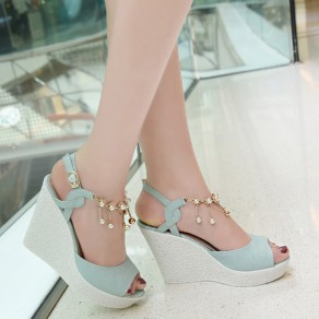 Green Piscine Mouth Wedges Chain Rhinestone Buckled Casual Sandals