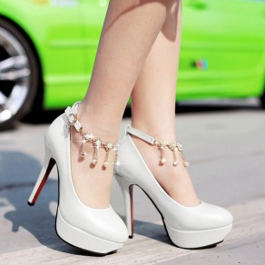 White Round Toe Stiletto Rhinestone Chain Casual High-Heeled Shoes