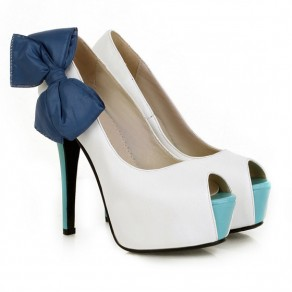 White Piscine Mouth Stiletto Bow Casual High-Heeled Shoes
